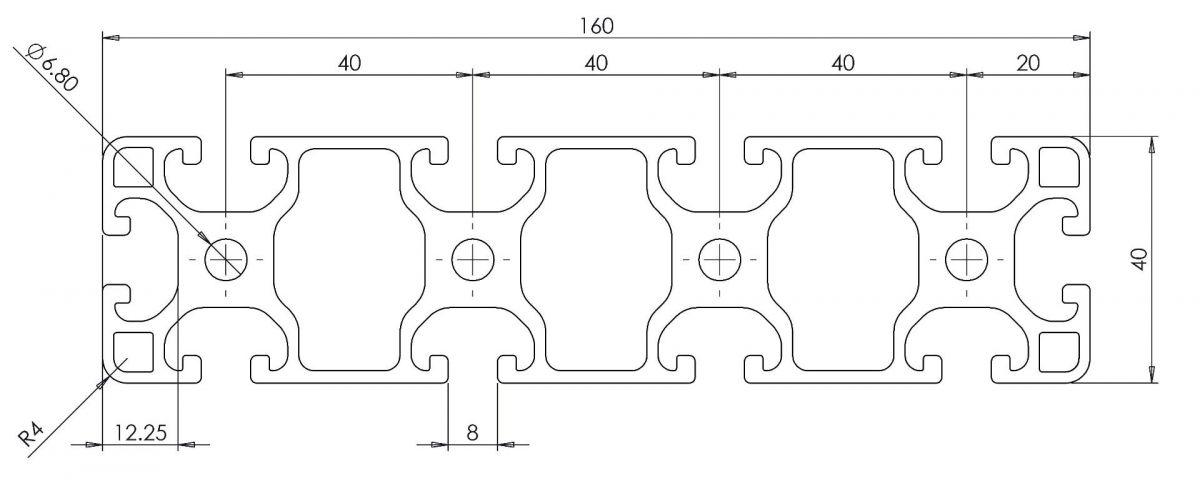 aluminium tslot profile 40x160 dimensions